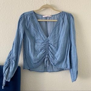 Zara Tops - Denim scrunchy blouse